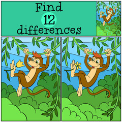 Children games: Find differences. Little cute monkey hangs on the liana and holds a flower.