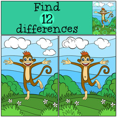 Children games: Find differences. Little cute monkey runs and smiles.