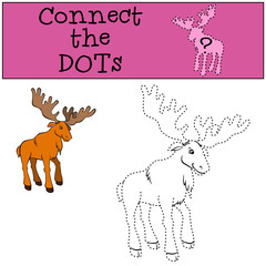 Children Games: Connect the Dots. Cute kind elk stands and smiles.