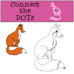Children Games: Connect the Dots. Little cute fox sits and smiles..
