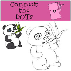 Children Games: Connect the Dots. Little cute panda eats leaves.