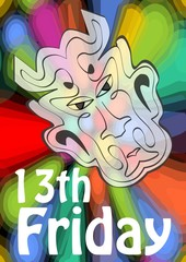 Friday 13th, 13 Friday, unlucky day with devil head on psychedelic colorful background. Devil symbol of evil and misfortune, terrible devil head