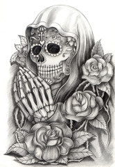 Skull art day of the dead.Design skull action smiley face day of the dead festival hand pencil drawing on paper.