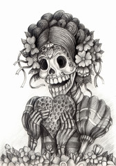 Skull art day of the dead.Design women skull in love action smiley face day of the dead festival hand pencil drawing on paper.