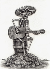 Skull art day of the dead. Design skull playing guitar on island  action smiley face day of the dead festival hand pencil drawing on paper.