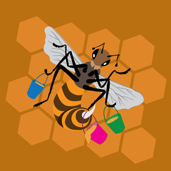 bee with buckets of honey on honeycomb background in cartoon style