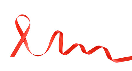 Red ribbon sign isolated on white