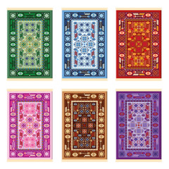 Carpets - oriental pattern - six color variations - green, blue, red, pink, brown and purple. Isolated vector illustration on white background.
