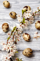 Spring easter composition with eggs and flowers on a gray old wooden background