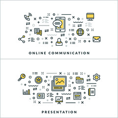 Vector Thin Line Online Communication Presentation Concepts. Vector Illustration for Website Banner or Header. Flat Line Icons and Design Elements