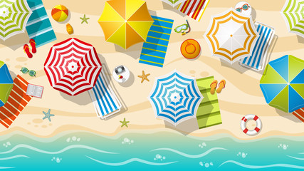 Seamless beach resort with colorful beach umbrellas, part 3 of 3