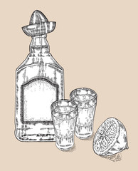 Bottle of tequila drink. Hand drawn two glasses of tequila.
