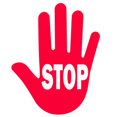 Rote Hand mit STOP Text