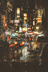 night scene of a street in city,illustration painting