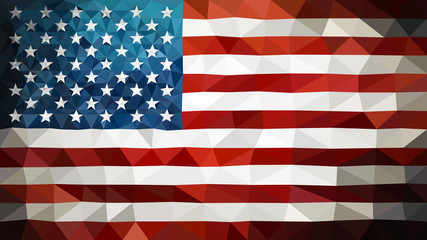 Triangulated high poly USA flag in EPS 8 format