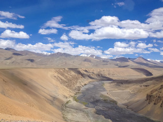 Leh-Manali highway and river, Ladakh, India