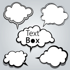 Set of freestyle text box and speech bubble isolated on grey background. Vector illustration