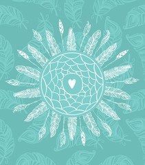 Dream catcher with feathers. Beautiful hand-drawn background for invitations,posters and any design. Vector tribal illustration
