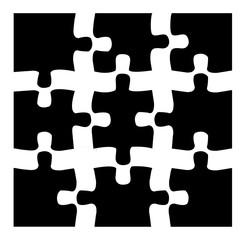 Puzzle schwarz 3x3