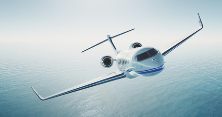 Picture of white luxury generic design private jet flying over the empty sea. Blue sky at background. Luxury travel concept. Horizontal . 3d rendering