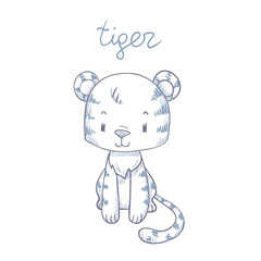 Sketch cartoon tiger with text. Doodle illustration in vector.