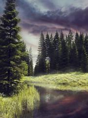 Wall Mural - Kolorowy krajobraz z rzeką płynącą przez las