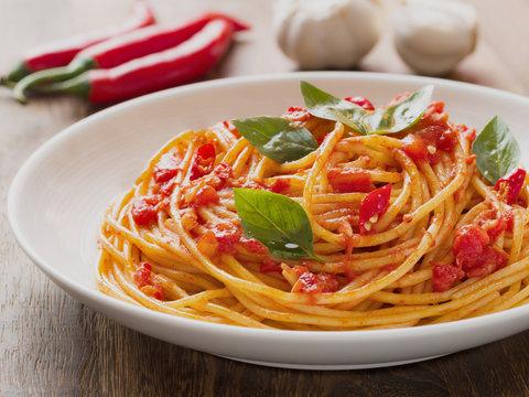 rustic italian spaghetti arrabbiata pasta