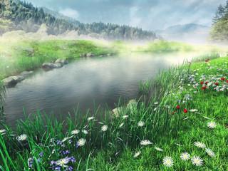 Wall Mural - Jezioro i wiosenna łąka w górach