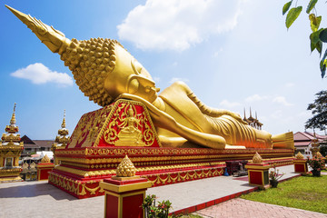 Reclining Buddha statue at Wat Pha That Luang, Vientiane, Laos.