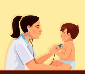 Pediatrician and child. Vector flat cartoon illustration