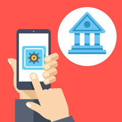 Hand holding smartphone with safe on screen and bank icon. Deposit, mobile banking, online money management. Flat vector illustration