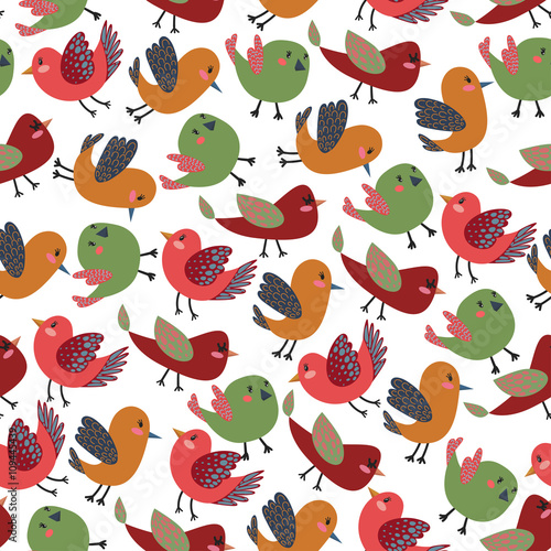 d9b01d2cb Colorful Vintage Cute Birds Vector Seamless Pattern with Colorful Vector  Birds for T-Shirt Prints, Wallpaper, Wrapping Paper and Web Design, ...