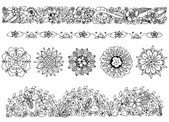 Vector illustration zentangl drawing of, ornament, doodle frame, flowers. Spring, summer, flowering, ornamental patterns. Coloring book anti stress for adults. Black and white.