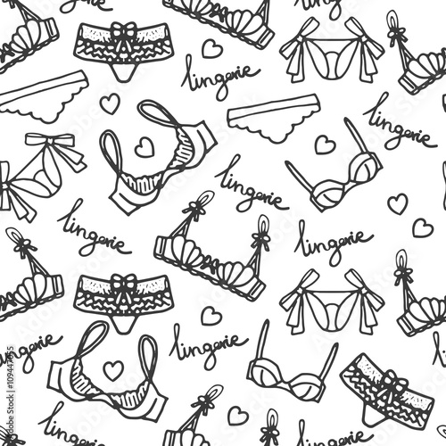 bfdc9571f8 Lingerie seamless pattern. Vector underwear background design. Outline hand  drawn illustration. Bras and