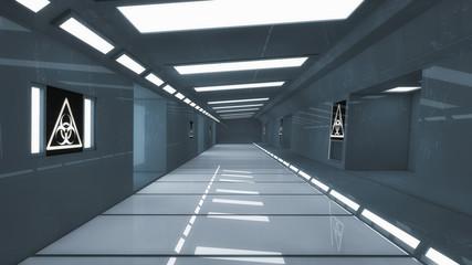 3d render. Futuristic spaceship interior