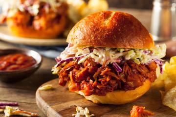 Homemade Vegan Pulled Jackfruit BBQ Sandwich