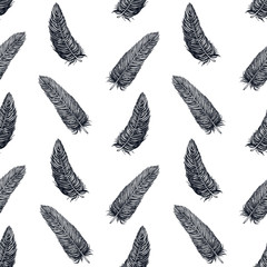 Seamless Vintage Monochrome Feathers Vector Seamless Pattern with Artistic Vector Feathers for Vintage Wallpaper, Wrapping Paper, Prints, Posters, Vintage Seamless Pattern, Vector Seamless Pattern
