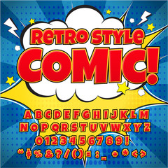 Comic retro alphabet set. Red color version. Letters, numbers and figures for kids' illustrations, websites, comics