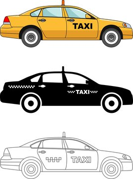 Different kind taxi cars isolated on white background in flat style: colored, black silhouette and contour. Vector illustration.