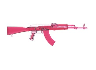 Akm assault rifle 3d illustration in color. metal parts.  military color. on white background