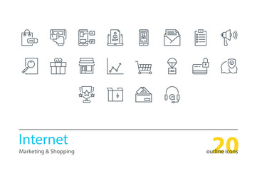 Set of vector internet marketing, shopping thin line icons.