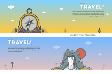 Travel illustrations. Compass and waterfall. Modern outline vector.
