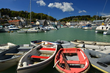 St.Aubin harbour, Jersey, U.K.  Wide angle image of a small port in Spring.