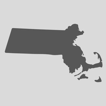 Black map state Massachusetts - vector illustration.