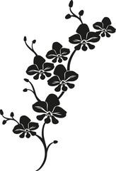 black cartoon vector orchid