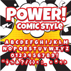 Comic alphabet set. Light color version. Letters, numbers and figures for kids' illustrations, websites, comics, banners