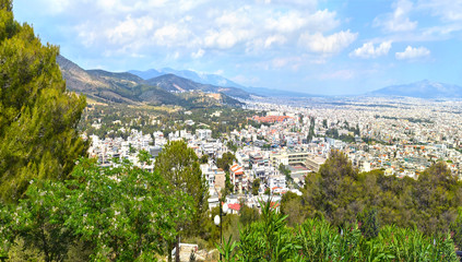 cityscape of Athens from the hill of prophet Elias Chaidari Greece