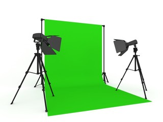 Photo Studio with Green Screen and Light Equipment isolated on white background