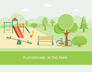 Flat style playground in park. Children's playground with swings, slide, bench. Trees and shrubs. Vector illustration.