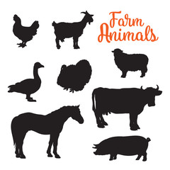 Black contours drenched farm animals, goose cow horse pig and goat kurischtsa turkey, vector animals isolated on white background set of different animals bird cattle, black logos and icons